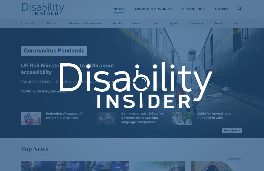 Disability Insiderウェブサイトのスクリーンショットとロゴ