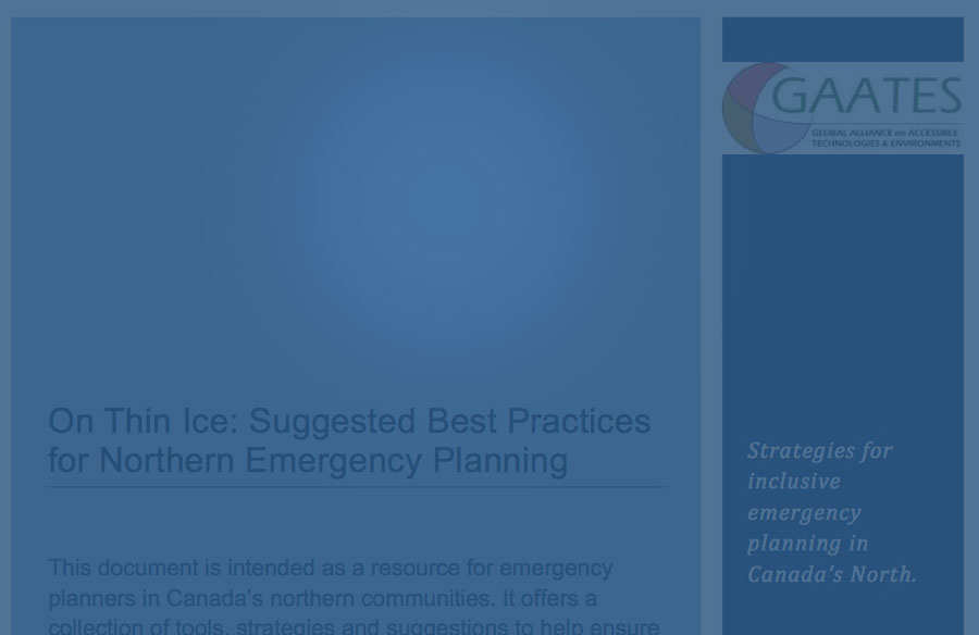 Cover page - On Thin Ice: Suggested Best Practices for Northern Emergency Planning - Strategies for inclusive emergency planning in Canada's North