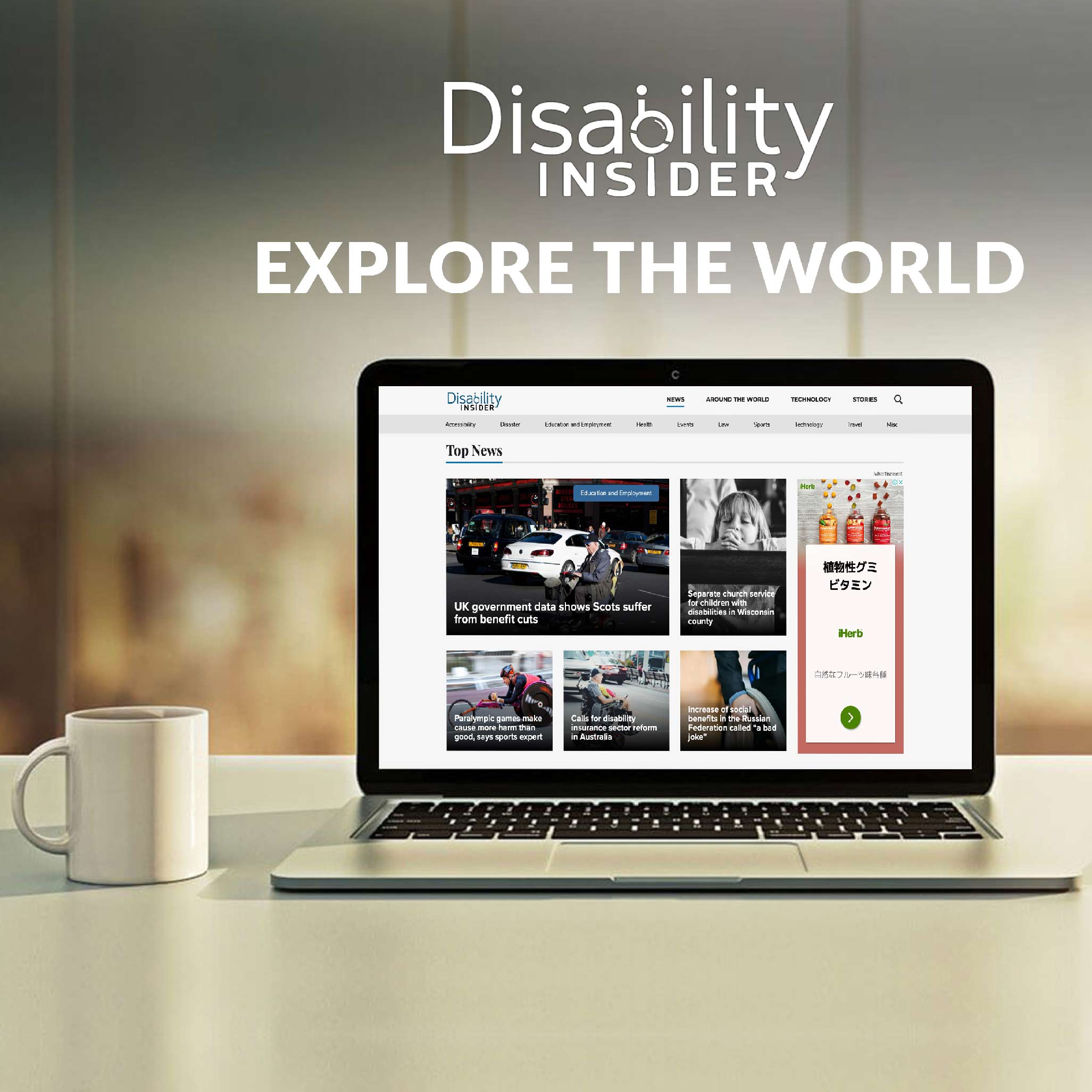 View of Disability Insider website  in Safari Browser on MacBook Pro