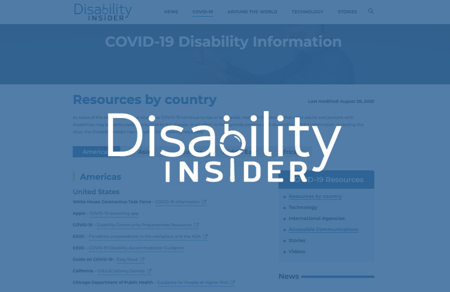 DI COVID-19 Disability Resources section Screenshots