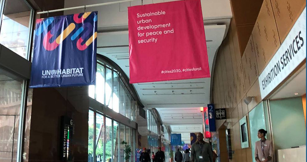 Banners hanging at the main entrance hall
